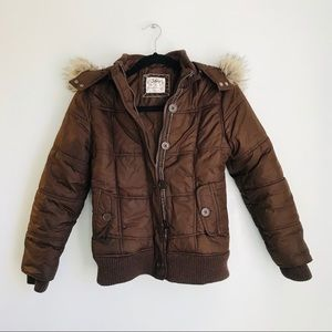 Justice Brown Fur Trim Hooded Winter Coat Size 12
